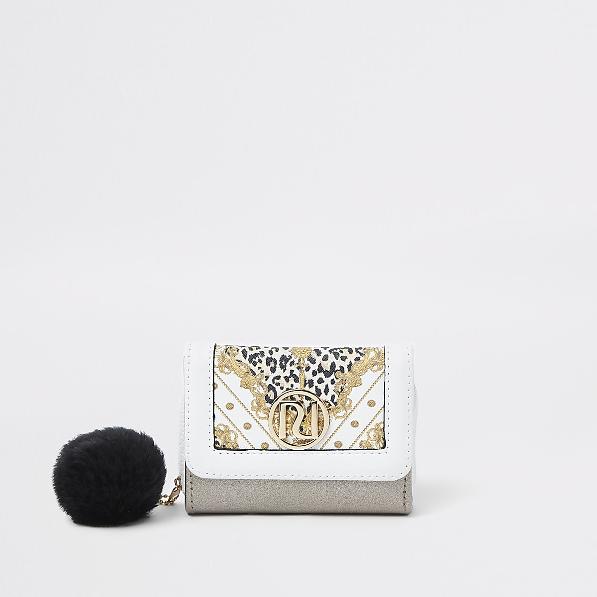 Girls leopard print trifold purse