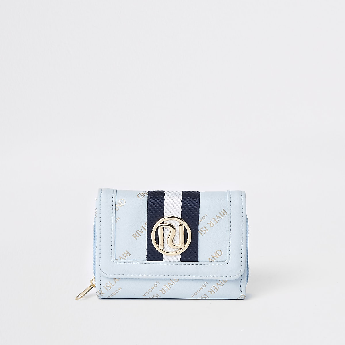 Girls blue RI trifold purse