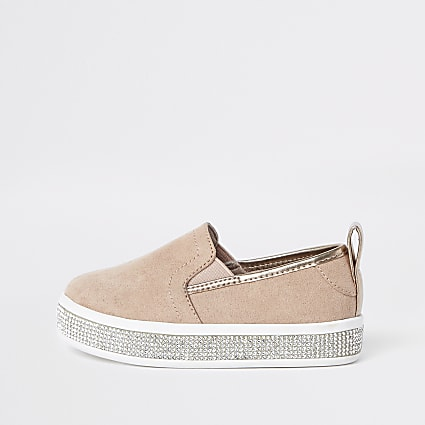 Mini girls pink diamante trim plimsolls