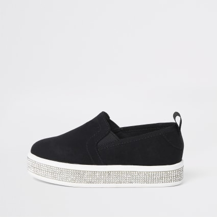 Mini girls black diamante trim plimsolls