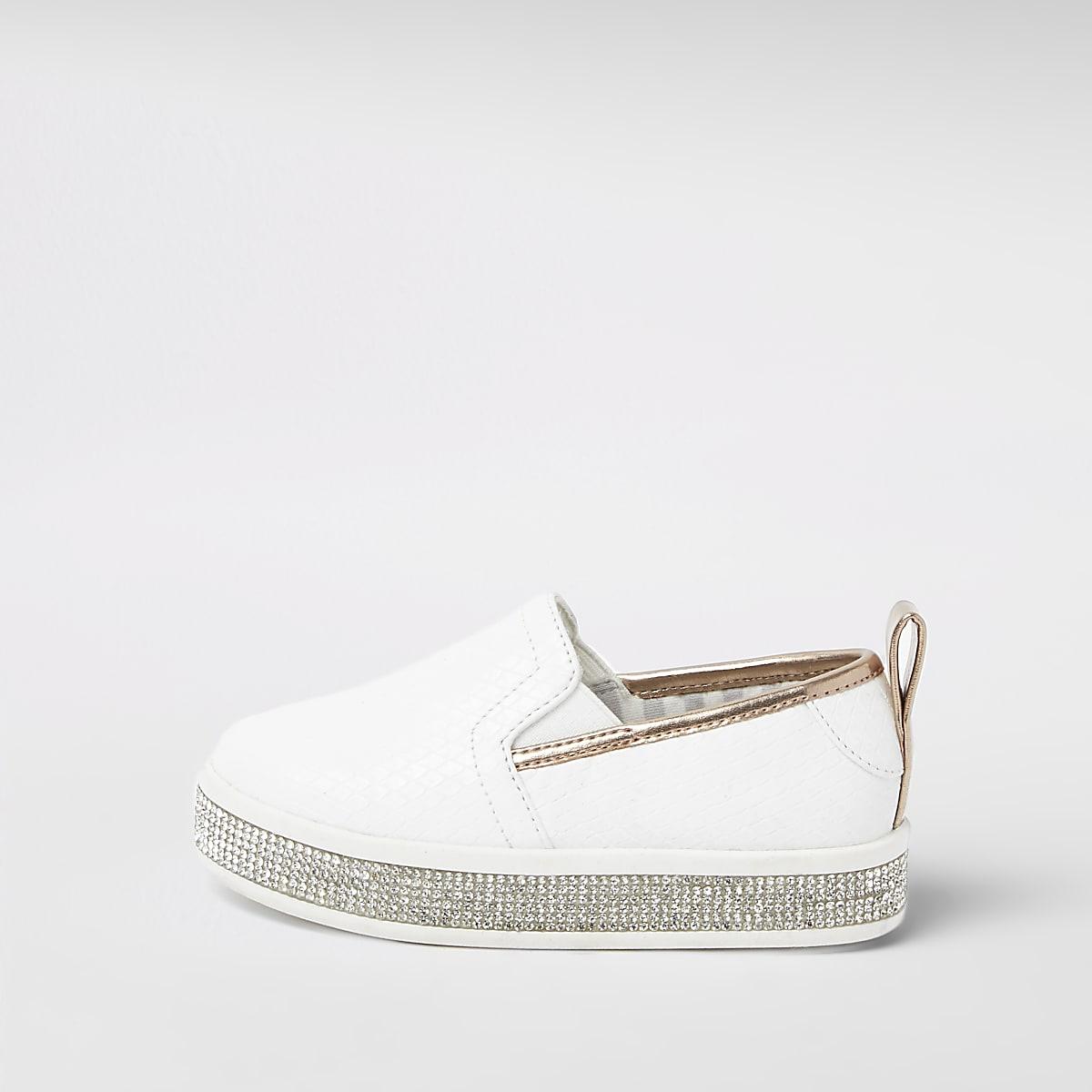 Mini girls white diamante trim plimsolls