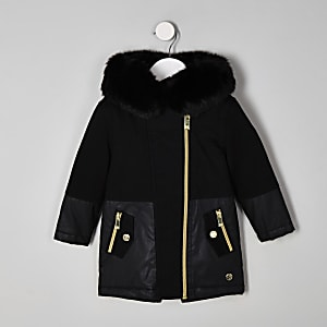 Mini girls black faux fur trim parka jacket