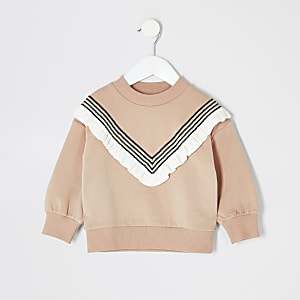 Mini girls beige chevron sweatshirt