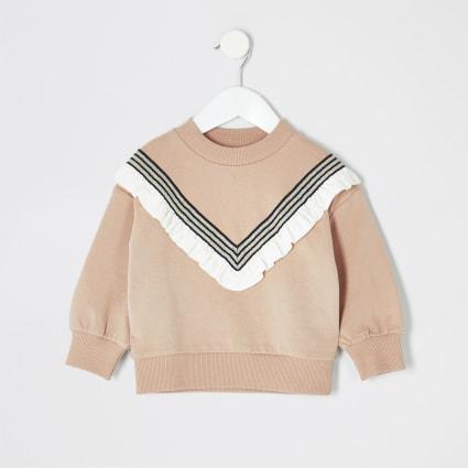 Mini girls beige chevron sweatshirt