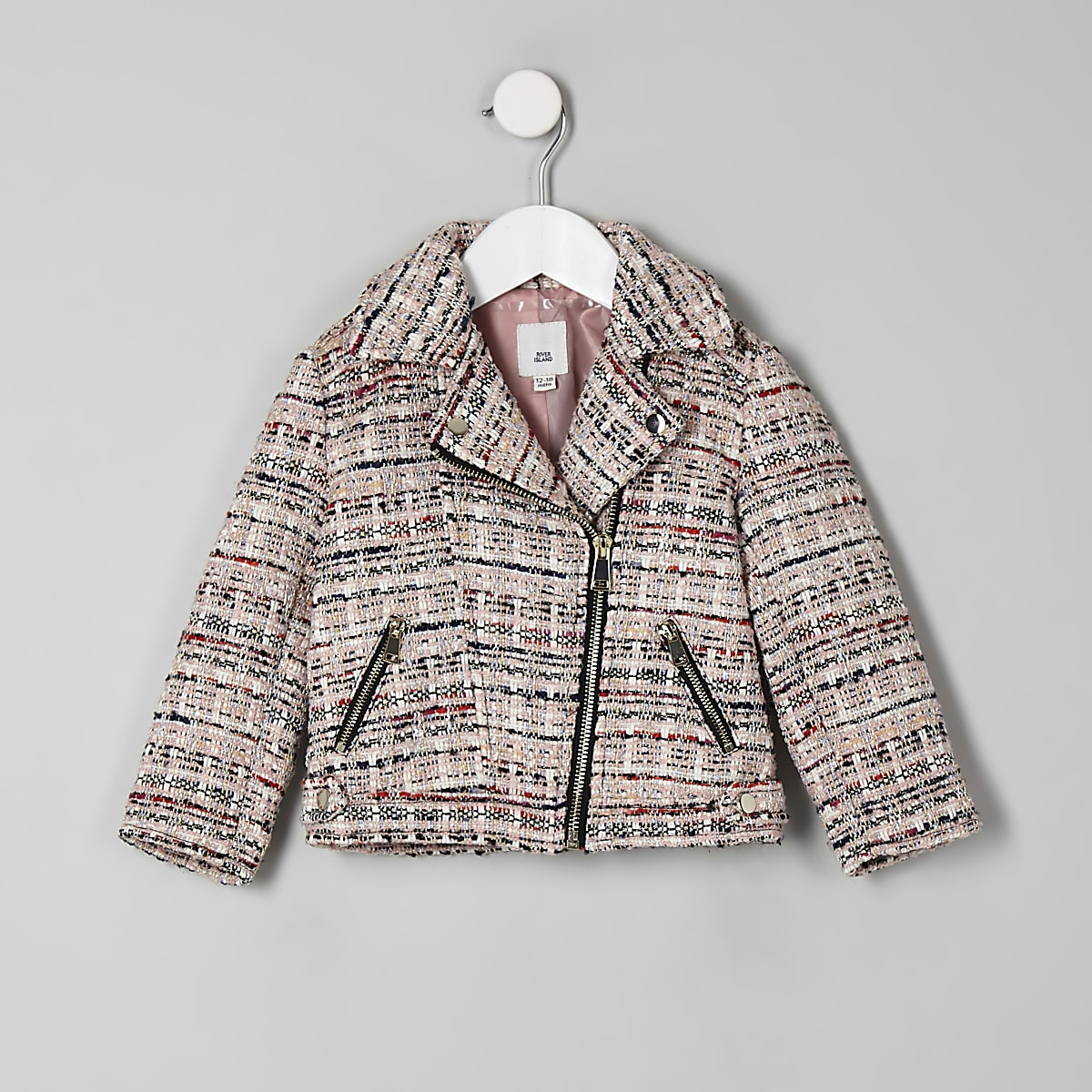 Mini girls pink boucle biker jacket