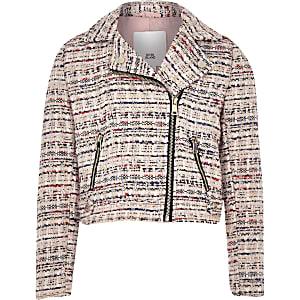 Girls pink boucle biker jacket