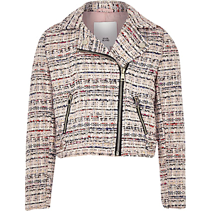 Girls pink boucle biker jacket