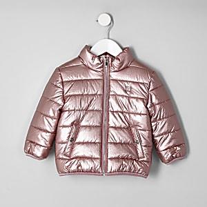 Mini - Roze metallic bomberjack voor meisjes