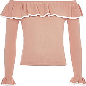 Top Bardot corail à volants pour fille
