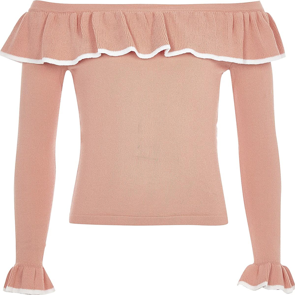 Girls coral frill bardot top