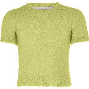 T-shirt en maille duveteuse vert pour fille