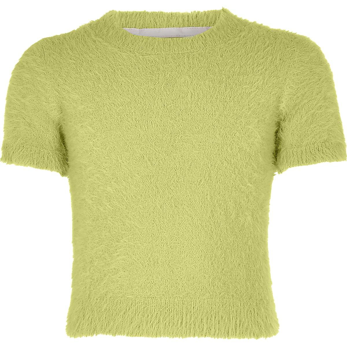 Groen pluizig gebreid T-shirt voor meisjes