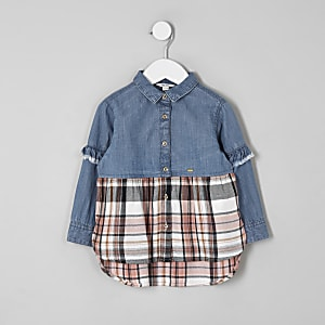 Mini girls denim check shirt