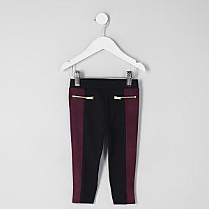 Mini girls purple faux suede block leggings