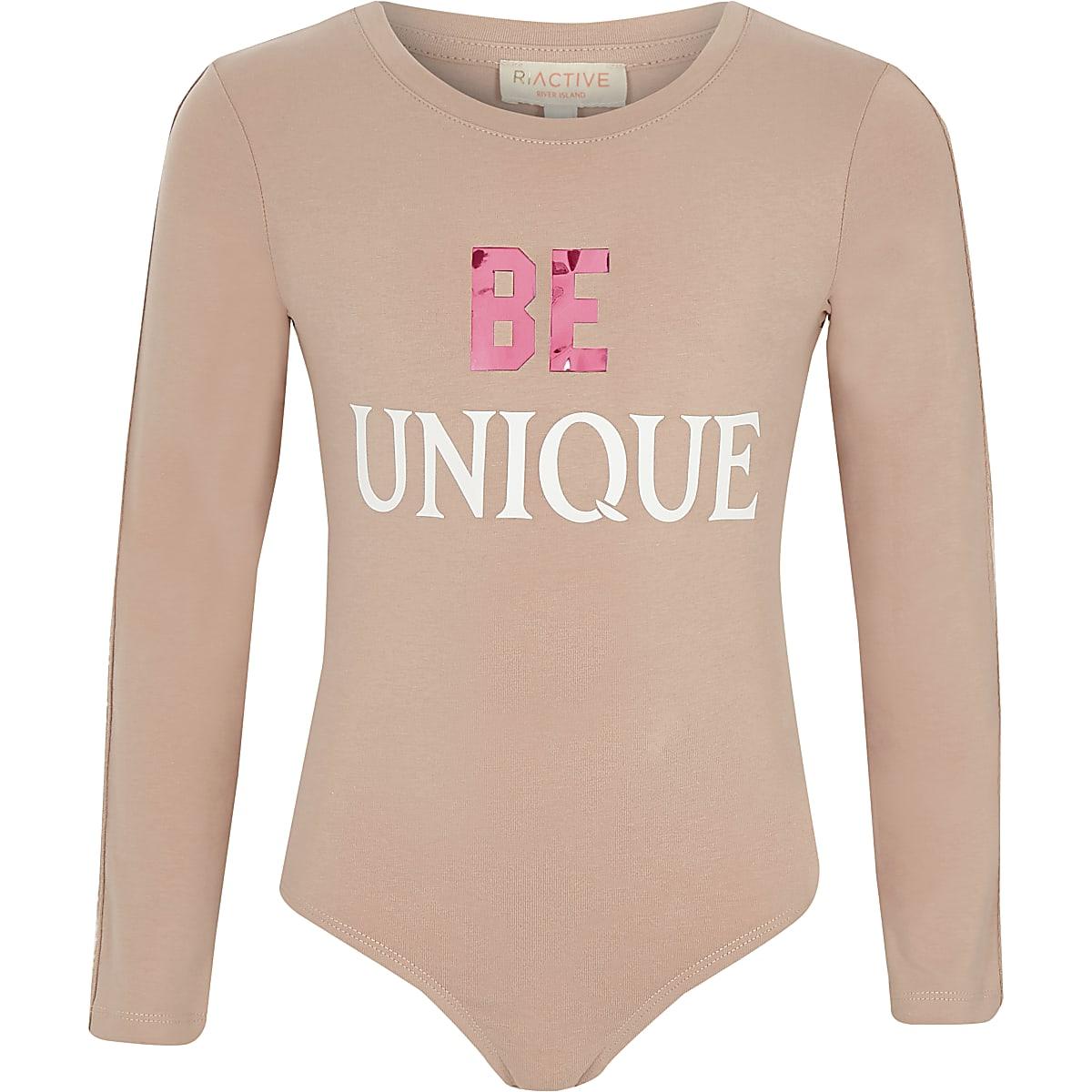 Girls RI Active pink 'be unique' bodysuit