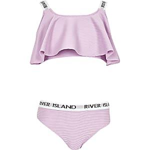 Bikini RI violet à volants pour fille