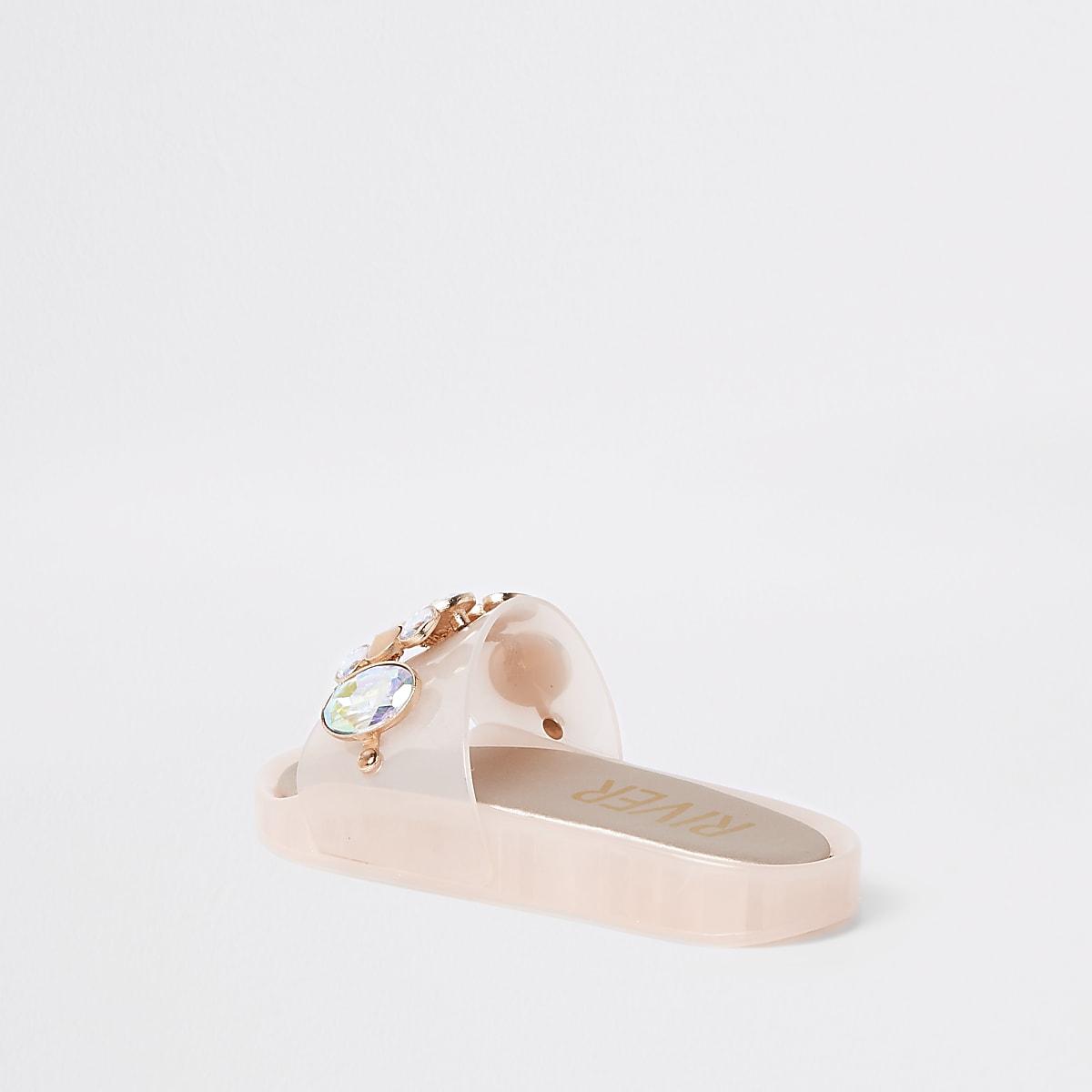 c1d49ec5df63 Girls pink embellished jelly slider - Sandals - Footwear - girls