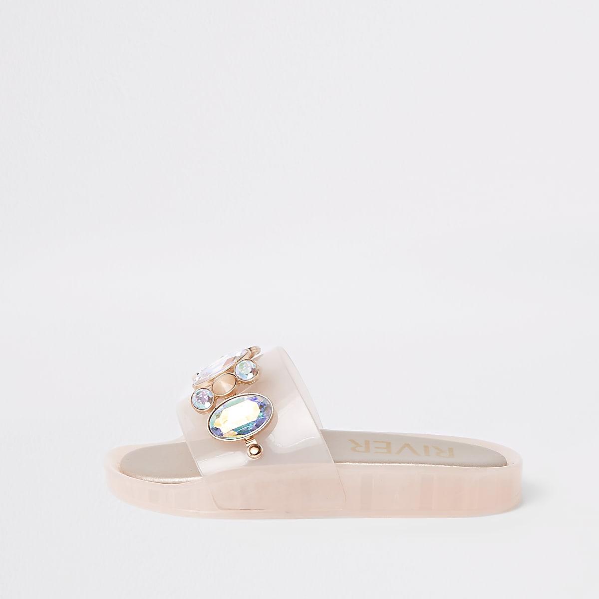 Girls pink embellished jelly slider