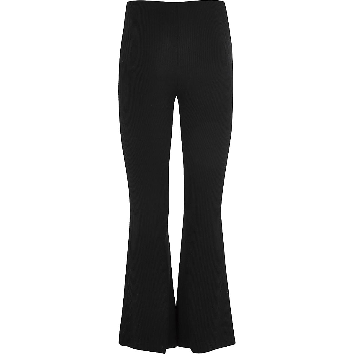 Pantalon noir côtelé évasé pour fille