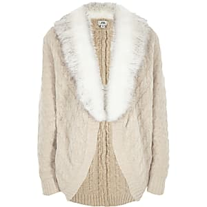 Girls light brown knit faux fur trim cardigan