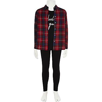 Girls red tartan print shirt and leggings set