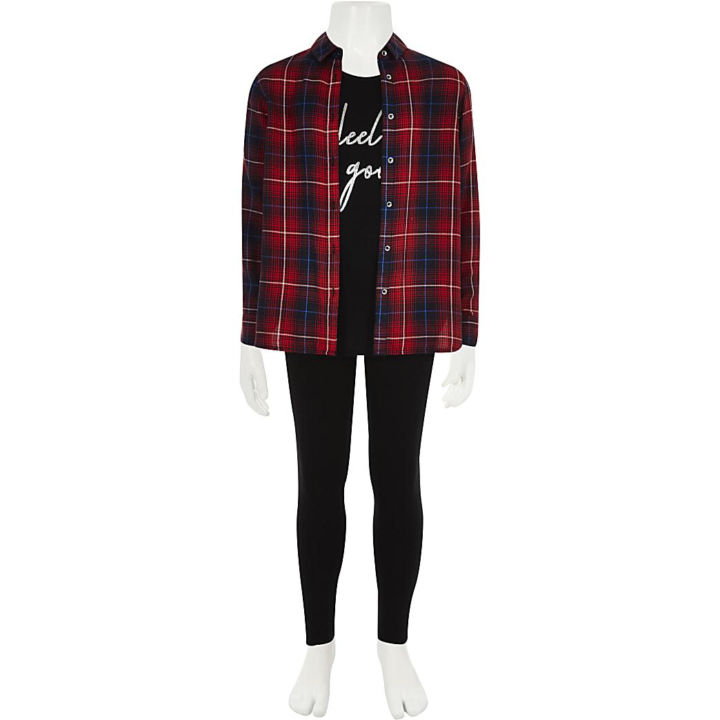 Set van rood geruit overhemd met print en legging voor meisjes