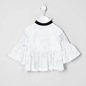 Mini - Witte top met kanten peplum voor meisjes