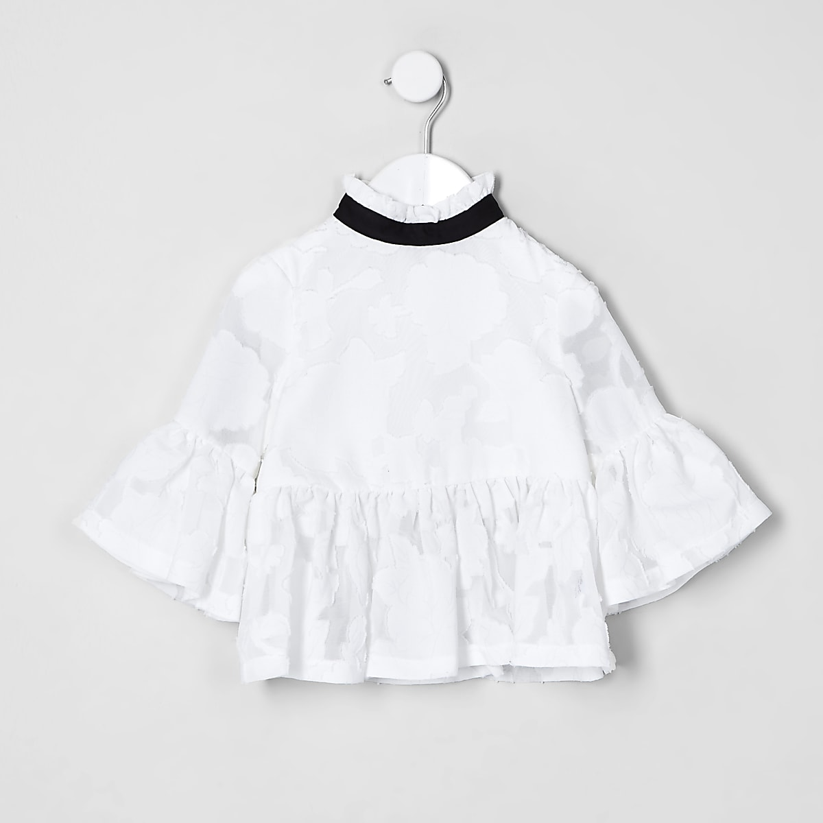 Mini girls white lace peplum top