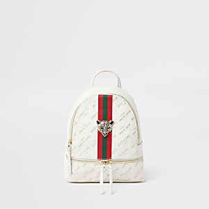 Girls white RI tiger charm backpack