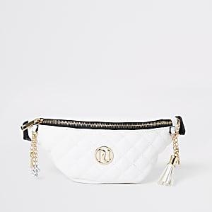 Girls cream quilted bum bag