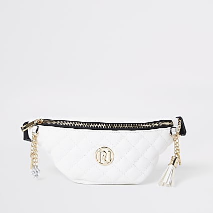 Girls cream quilted RI belted bum bag