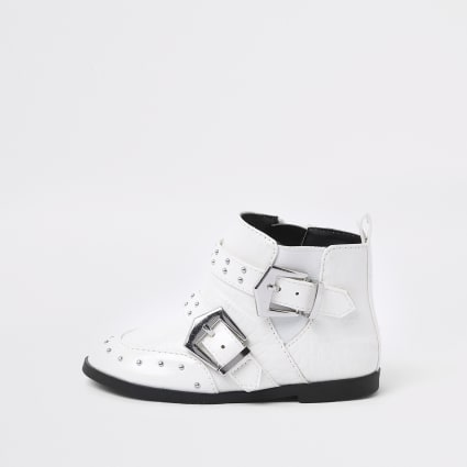 Mini girls white stud buckle ankle boots