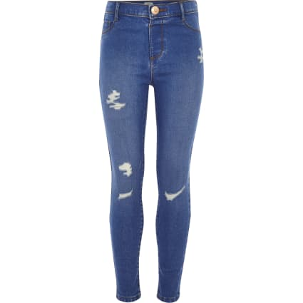 Girls blue Molly distressed mid rise jegging