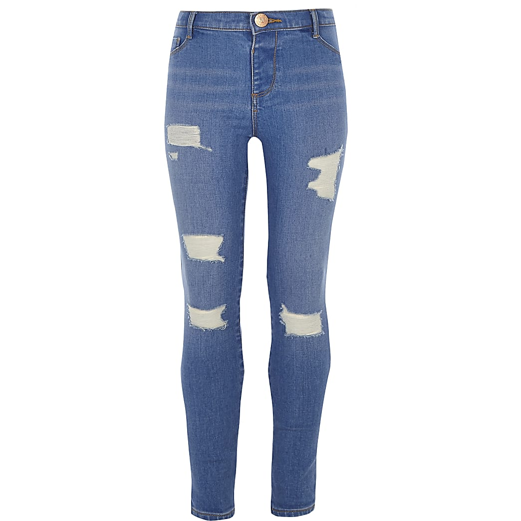Girls blue Molly ripped mid rise jeggings