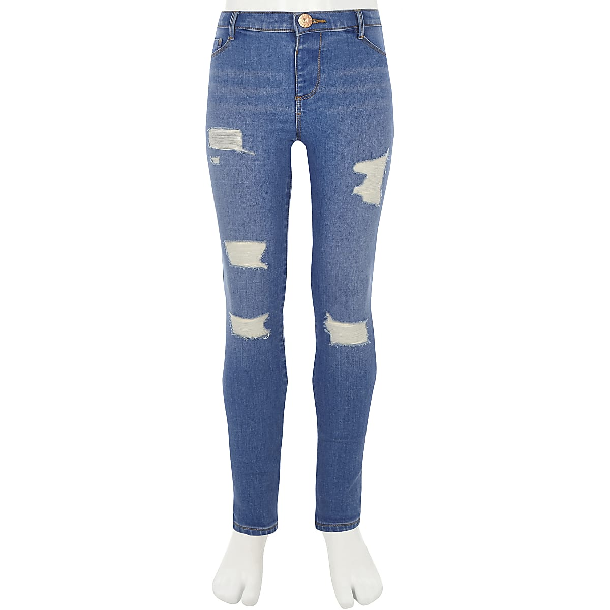 85bb60f3fe4da Girls blue Molly ripped mid rise jeggings - Jeggings - Jeans - girls