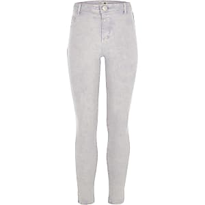 Girls purple acid Molly mid rise jeggings