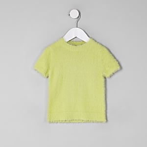 T-shirt en maille duveteuse vert mini fille