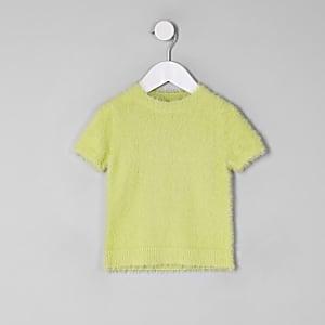 Mini - Groen pluizig gebreid T-shirt voor meisjes