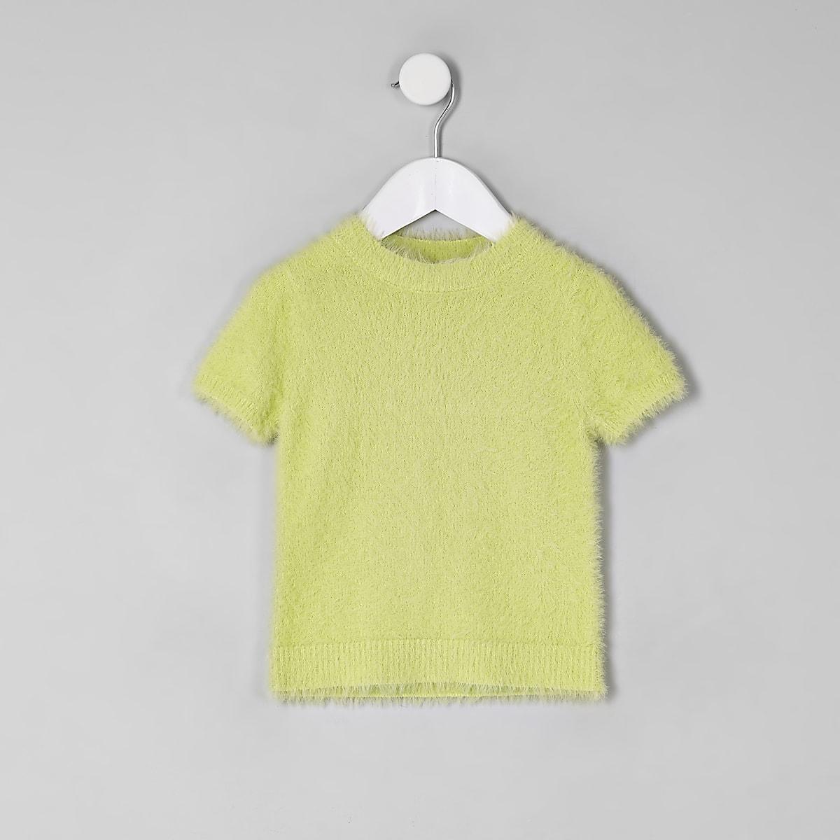 Mini girls green fluffy knit T-shirt
