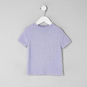 T-shirt en maille duveteuse violet mini fille