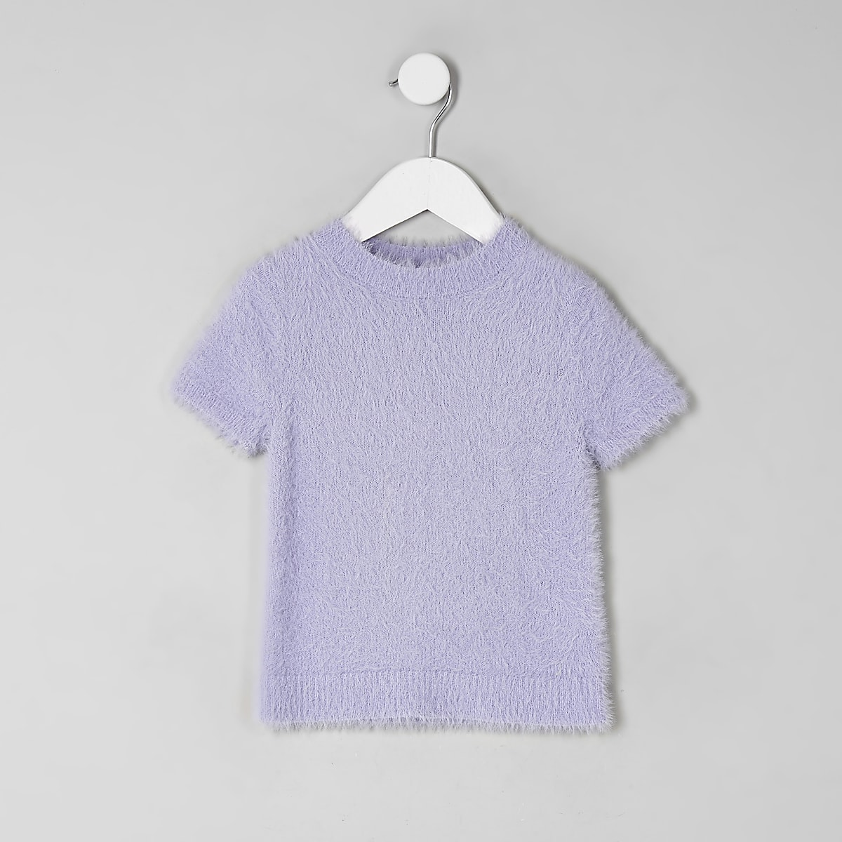 Mini girls purple fluffy knit T-shirt
