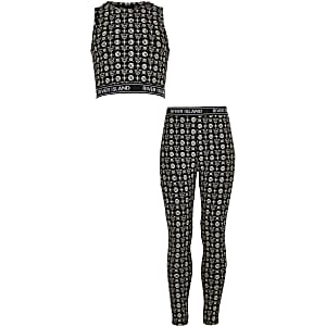 Girls RI Active black print crop top outfit
