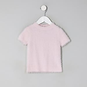 Flauschiges Strick-T-Shirt in Pink