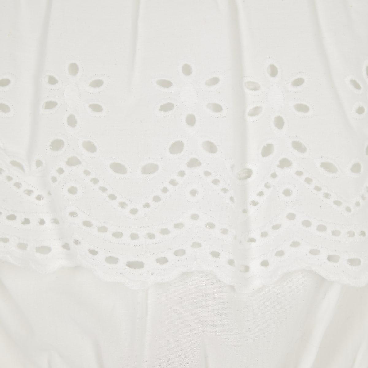 f0a1d7d562d Girls white embroidered bardot crop top - Long Sleeve Tops - Tops ...