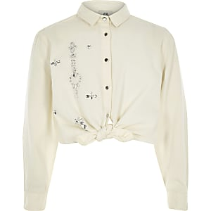 Girls white diamante tie front shirt