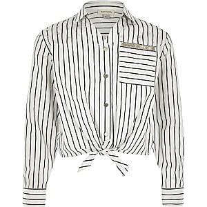 Chemise rayée blanche nouée sur le devant pour fille