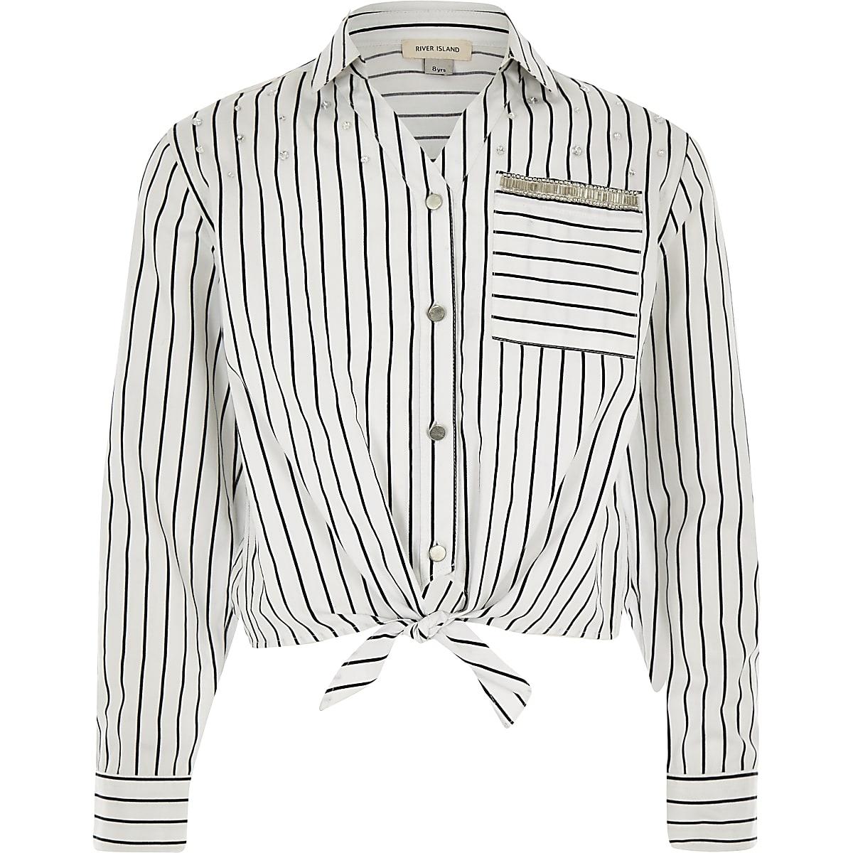 Wit gestreept overhemd met strik voor meisjes