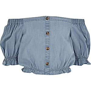 Crop top Bardot en denim bleu pour fille