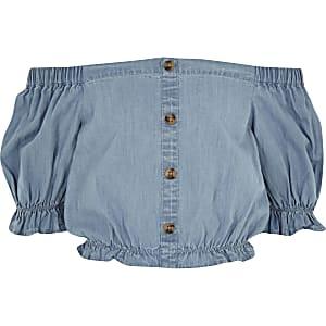 Blauwe denim crop top in barddotstijl voor meisjes