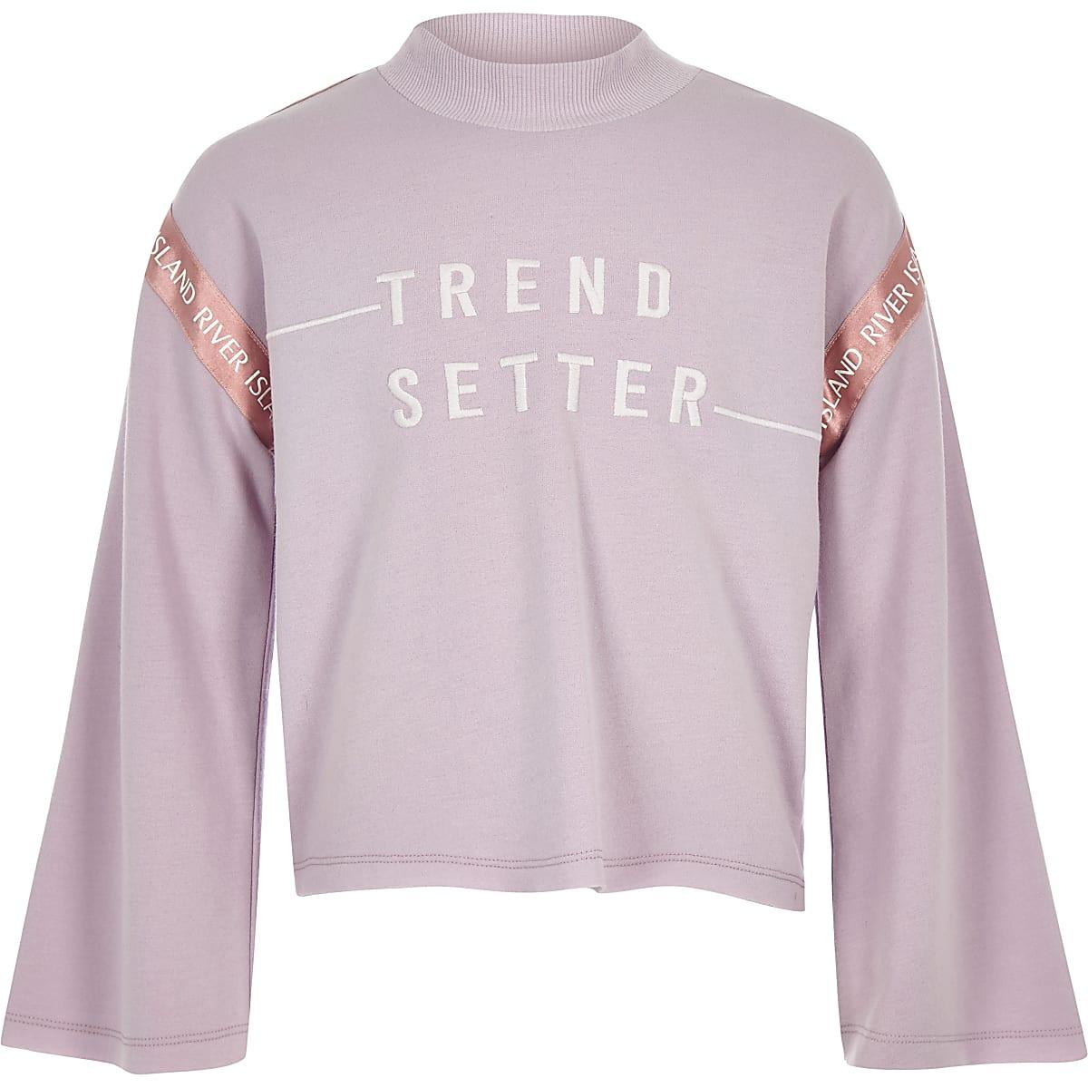 Paars sweatshirt met 'Trend setter'-print voor meisjes